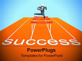 PowerPoint template displaying a person in a hurdle race reaching towards success