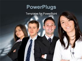 PowerPoint template displaying four business people standing together over a black background