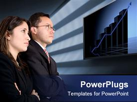 PowerPoint template displaying two business people standing and staring at a bar chart