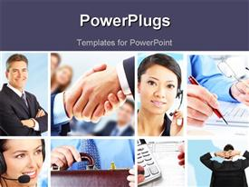 PowerPoint template displaying collage of business people and scenarios with dark blue text area