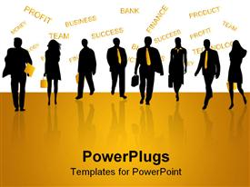 PowerPoint template displaying black figures of men and women business people on reflective yellow ground and yellow finance related words on white background