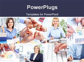 Business people working in the modern office powerpoint theme