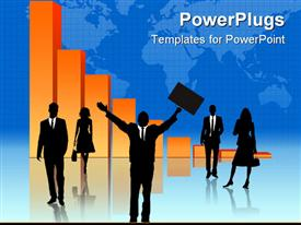 PowerPoint template displaying businessman praying for help as a black silhouette design