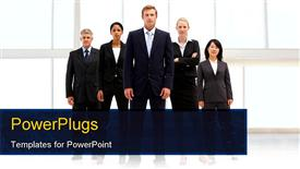 PowerPoint template displaying confident business people in the background.