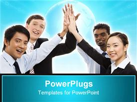 PowerPoint template displaying diverse business team celebrate their success with a high five in the background.