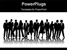 PowerPoint template displaying silhouette of business people line up for pose with reflection on white surface
