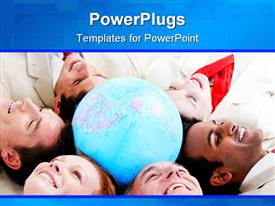 PowerPoint template displaying multi-ethnic business people lying on the floor around a terrestrial globe