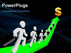 PowerPoint template displaying a number of people on the green arrow with a dollar sign in front