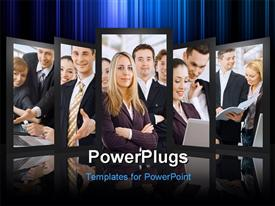 PowerPoint template displaying team of successful smiling young business people in the background.