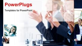 PowerPoint template displaying collage of business depictions with close-up of clapping professionals