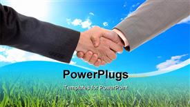 PowerPoint template displaying close-up of a business people shaking hands against blue sky and green grass background