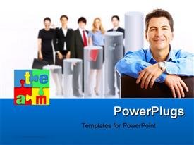 PowerPoint template displaying a happy team with one member in the close up