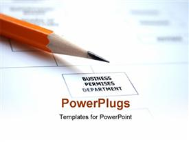 PowerPoint template displaying a sharpened pencil with a report in the background