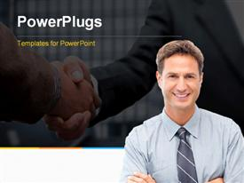PowerPoint template displaying proud businessman posing in front and handshake in background