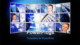 Beautiful business photos in monitors on modern business background powerpoint design layout