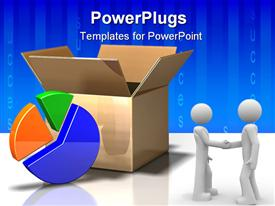 PowerPoint template displaying open cardboard box next to pie chart and two men shaking hands