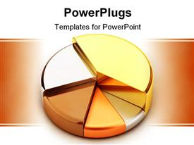 PowerPoint template displaying pie chart, made of different metals - gold, silver, bronze, copper, lead