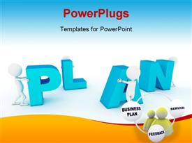 PowerPoint template displaying various figures arranging the alphabets with bluish background