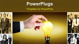 PowerPoint template displaying business man's hand touches a light bulb as it lights up in the background.