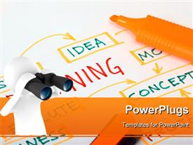 PowerPoint template displaying white figure looking through binoculars at mind map with orange highlighter