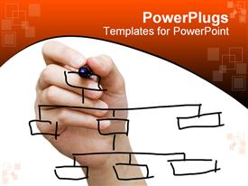 PowerPoint template displaying hand drawing chart in whiteboard in the background.