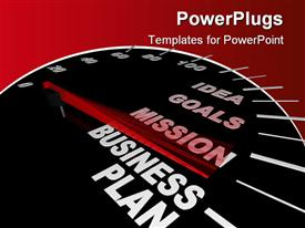 PowerPoint template displaying business plan speedometer with motivational words for achieving success in business