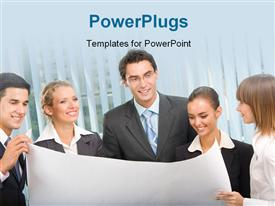 PowerPoint template displaying lots of business people staring at a business plan happily
