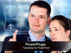 PowerPoint template displaying two coworkers draw out an architectural plan in the background.