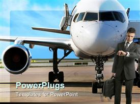 PowerPoint template displaying business man holding laptop bag checking hand watch standing in front of plane parked in the airport on light blue sky background
