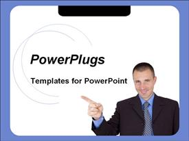 PowerPoint template displaying business man pointing index finger on white background with blue frame