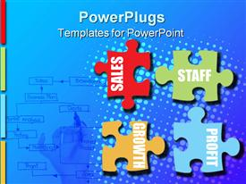 PowerPoint template displaying a number of colorful puzzle pieces with bluish background