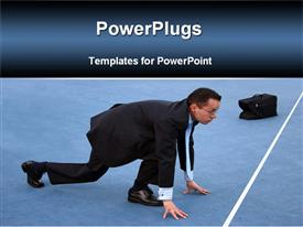 PowerPoint template displaying business man with bag bending in racing position over start line