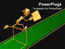 PowerPoint template displaying gold figure wearing hat carrying briefcase jumping over hurtle on green track