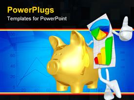 PowerPoint template displaying personified graph paper with multicolored graphs gives thumbs up next to golden piggy bank