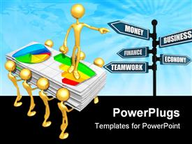 PowerPoint template displaying lots of gold colored human figures carrying  stack of paper