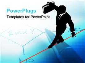 PowerPoint template displaying business man balances with a briefcase walks a high wire tightrope in the background.