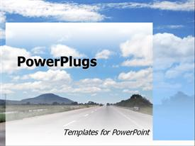 PowerPoint template displaying highway with distant cars, blue sky, driving