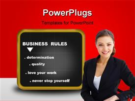 PowerPoint template displaying business - blackboard with some business rules