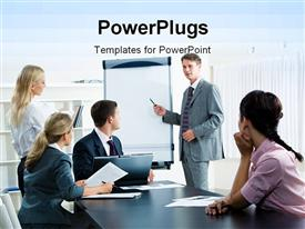 PowerPoint template displaying lots of business peple having a conference presentaation and ,eeting