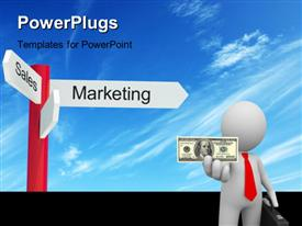 PowerPoint template displaying 2 way signpost for strategy and marketing in the background.