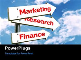 PowerPoint template displaying marketing Research and Finance signpost over blue cloudy sky