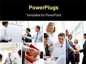PowerPoint template displaying collage of various business scenarios showing people in discussions