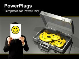 PowerPoint template displaying employee satisfaction metaphor with man holding smiley face paper, brief case full of yellow smiling faces