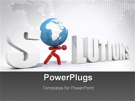 PowerPoint template displaying concept of global solutions - digital artwork in the background.