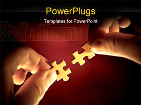 PowerPoint template displaying putting two pieces of a puzzle together in the background.