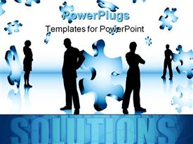 PowerPoint template displaying lots of business people standing with puzzle pieces in the air