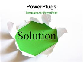 PowerPoint template displaying torn white paper reveals solution on green surface