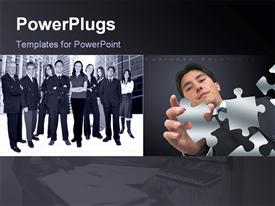 PowerPoint template displaying group and business people with men and women and depiction of focused business man with puzzle pieces