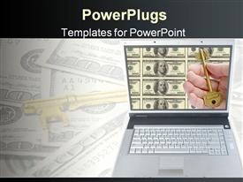 PowerPoint template displaying a laptop with dollar bills background and a hand holding a key