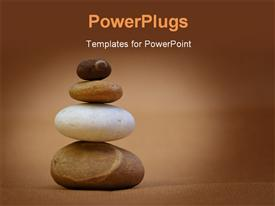 PowerPoint template displaying stack of pebbles in the background.